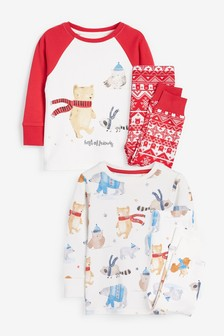 Red/White 2 Pack Bear Snuggle Pyjamas (9mths-8yrs)