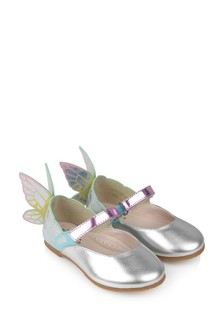 Girls Silver Leather Chiara Shoes