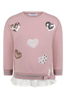 Girls Pink Hearts Cotton Sweater