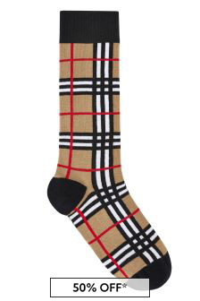Kids Beige Vintage Check Cotton Socks