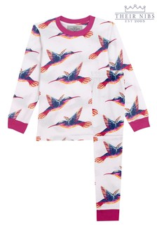 Their Nibs White Moving HummingbirdGirls Slim Fit Pyjama Set