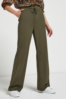 Khaki Jersey Wide Leg Trousers