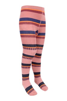 Girls Pink Cotton Blend Striped Tights