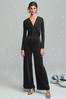 Black Sparkle Jersey Jumpsuit