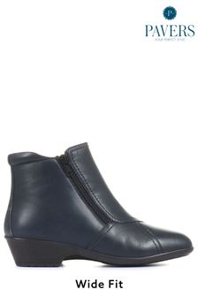 Pavers Navy Ladies Wide Fit Leather Ankle Boots