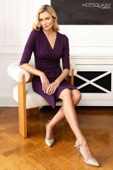 HotSquash Damson Ascot Mock Wrap Dress