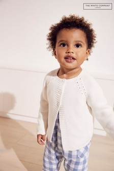 The White Company White Crochet Trim Detail Cardigan