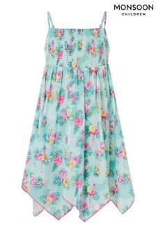 Monsoon Blue Flamingo Dress in Organic Cotton