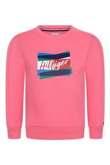 Girls Pink Cotton Sweatshirt