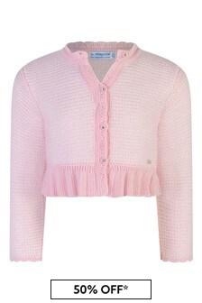 Baby Girls Pink Wool Knitted Cardigan