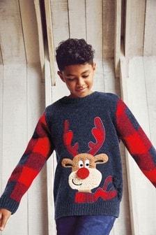 Reindeer Check Sleeve Christmas Jumper (3mths-16yrs)