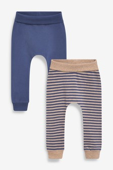 Navy/Oatmeal 2 Pack Stretch Leggings (0mths-2yrs)