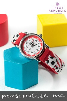 Personalised Red Football Kids Watch by Treat Republic