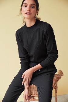 Black Rib High Neck Jumper