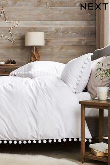 White Pom Pom Duvet Cover And Pillowcase Set