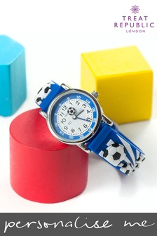 Personalised Blue Football Kids Watch by Treat Republic