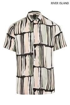 River Island Black Paint Block Stripe Shirt