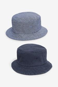 Navy 2 Pack Bucket Hats (3-16yrs)