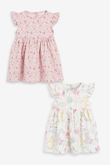 Pink/White 2 Pack Floral And Bunny Dresses (0mths-2yrs)