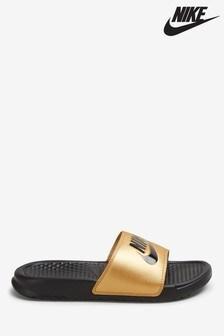 Nike Gold/Black Benassi Sliders