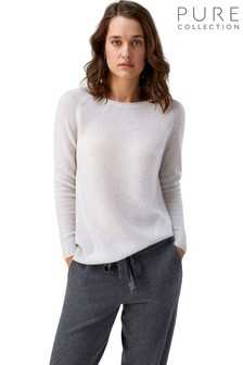 Pure Collection White Organic Cashmere Soft Textured Sweater