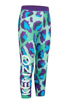 Girls Green Leopard Print Leggings