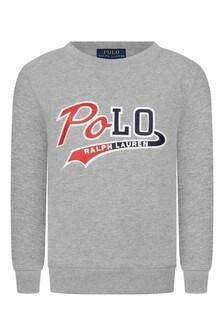 Boys Grey Fleece Polo Sweater