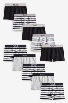 Monochrome 10 Pack Stripe Trunks (2-16yrs)