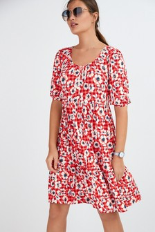 Red Floral Button Front Scoop Neck Dress