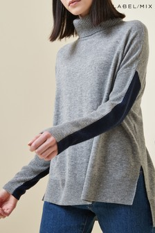 Grey  Mix/J.Won Merino Cashmere Boxy Roll Neck Knit