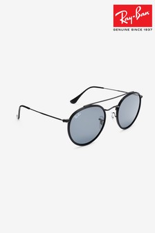 Ray-Ban® Black Round Double Bridge Sunglasses
