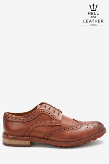 Tan Cleated Sole Leather Brogue Shoes
