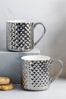 Set of 2 Silver Faceted Mugs