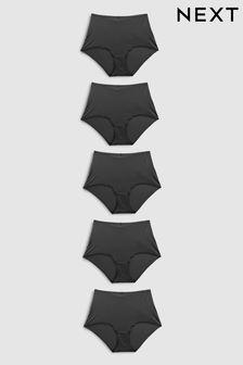 Black Full Brief Microfibre Knickers 5 Pack