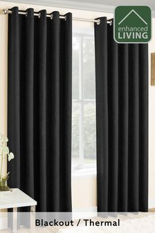 Enhanced Living Black Lined Thermal/Blackout Curtains