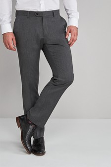 Grey Slim Fit Stretch Formal Trousers