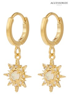 Accessorize Gold-Plated Starburst Opal Huggie Hoops