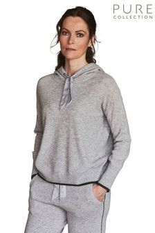 Pure Collection Grey Cashmere Hooded Sweater