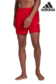 adidas Red 3 Stack Solid Swim Shorts