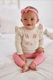 Pink Bunny 3 Piece Sweat Set (0mths-2yrs)