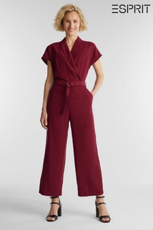 Esprit Red Woven Short Jumpsuit