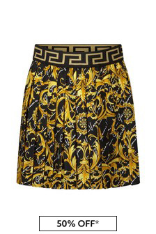Girls Black & Gold Baroque Silk Skirt