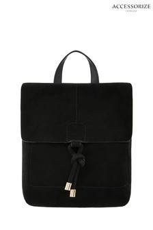 Accessorize Black Leather Suede Maud Backpack