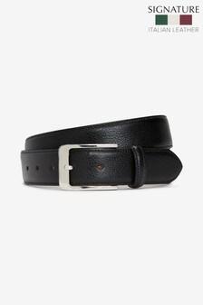 Black Signature Italian Leather Edge Stitched Belt