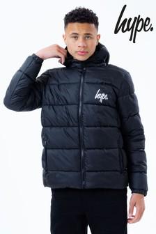 Hype. Black Hooded Puffer Jacket