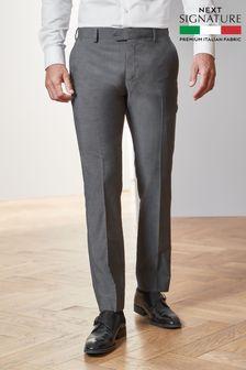 Grey Slim Fit Signature Suit: Trousers