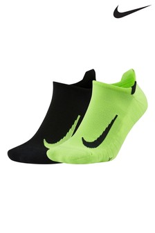 Nike Running Black/Volt Invisible Socks 2 Pack