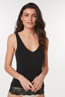 Black Lightweight Microwarmth Lace Trim Vest