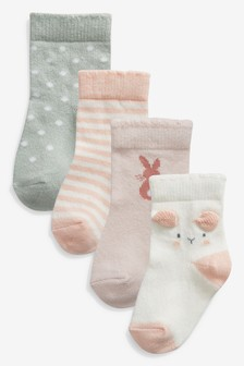 Pink/Mint 4 Pack Socks (Younger)