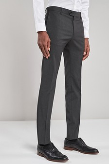 Charcoal Super Skinny Fit Stretch Formal Trousers